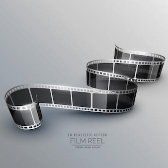 灰色の背景上の3d現実的なフィルムロール