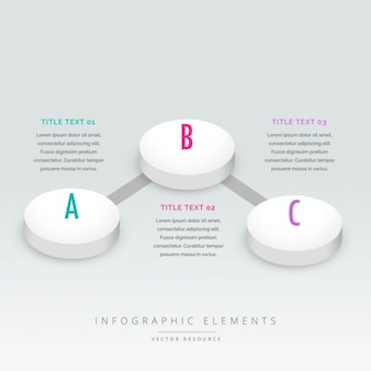 3d стиль три шага инфографики шаблон