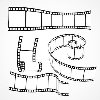 3dフィルムリールストリップベクトルセット