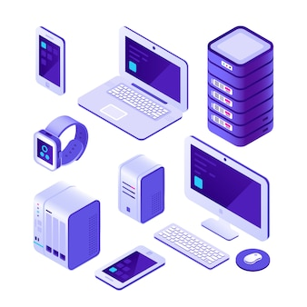 モバイルデバイス等尺性セット。コンピューター、サーバー、ラップトップ、スマートフォン。クラウドデータベースシステムの3dコレクション