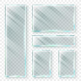 Прозрачные стеклянные баннеры. 3d оконное стекло или пластиковый баннер. реалистичный набор иллюстраций