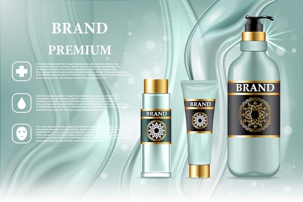 Премиум косметическая продукция объявление. векторные 3d иллюстрации уход за кожей бренда дизайн шаблона бутылки. лицо и тело составляют крем и лосьон.