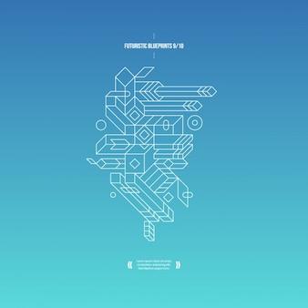 青のグラデーションと3d組成を持つ抽象的な背景