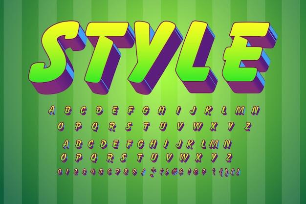 Вектор дети шрифта 3d жирным шрифтом без засечек стиль для плаката