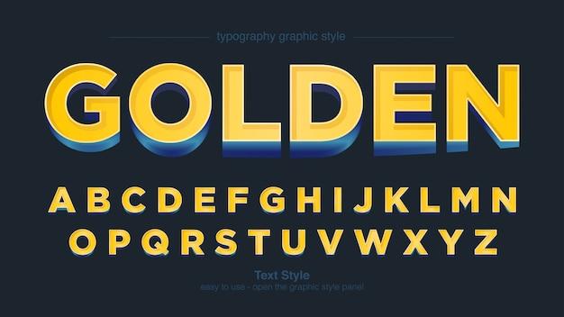 Желтый синий жирный типографский 3d графический стиль
