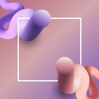 白いフレームと3dシェイプを持つ抽象的な背景
