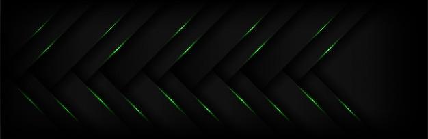 Современная 3d геометрия абстрактного стрелка зеленого света с темным фоном