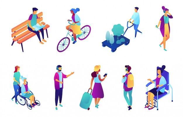 Люди на улице изометрическая 3d иллюстрации набор.