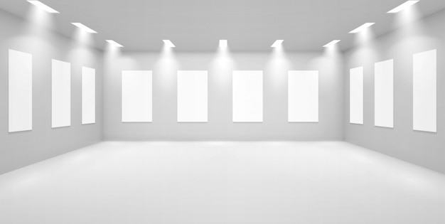 Художественная галерея пустая 3d комната с белыми стенами, музей