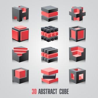 3d抽象的なキューブロゴタイプセット