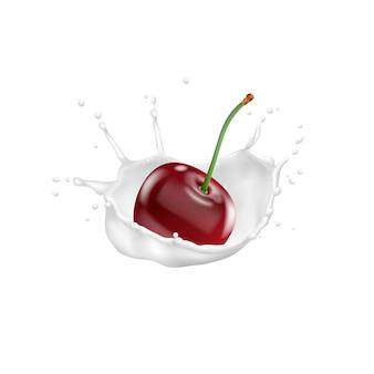 Красная вишня и всплеск молока, вектор значок 3d
