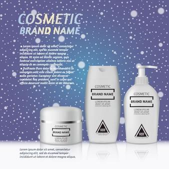 Шаблон для рекламы 3d-реалистичных косметических бутылок