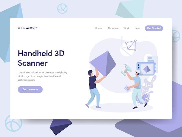 Ручной 3d-сканер иллюстрация для веб-страниц