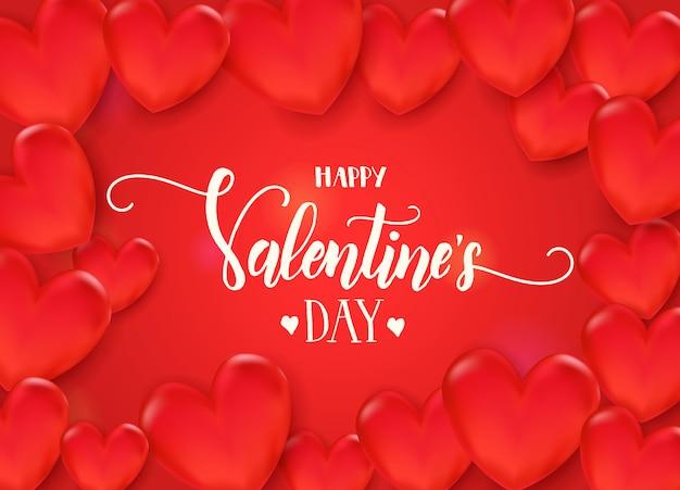 День святого валентина фон с 3d красные сердца на красном фоне. счастливого дня святого валентина