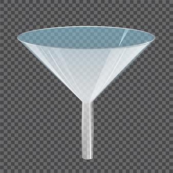 Стеклянная прозрачная воронка. лабораторный инструмент, прибор или стеклянная посуда для фильтрации жидкостей, научных или медицинских исследований. элемент 3d изолированный на ясности. реалистичная иллюстрация.