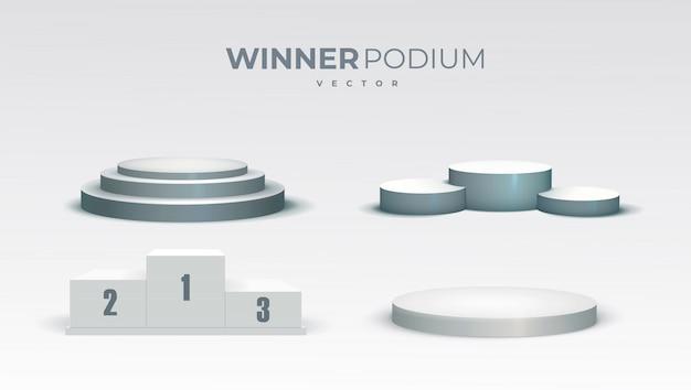 Белые подиумы. круглый и квадратный 3d пустой подиум с шагами. выставочные пьедесталы, напольная платформа