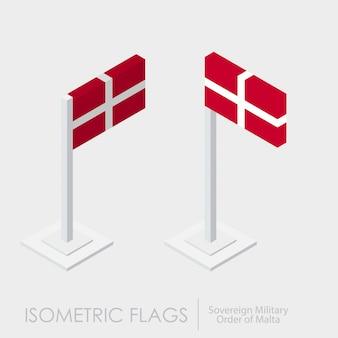 Суверенный военный орден мальтийского флага 3d изометрический стиль