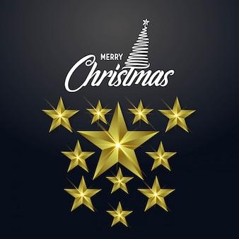 クリスマスの3dスター黒背景