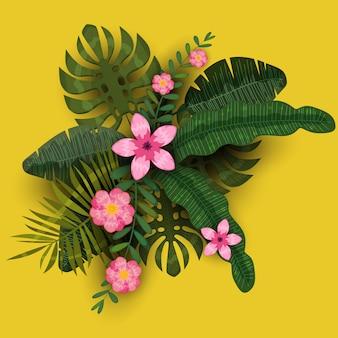 夏のエキゾチックな植物と熱帯のハイビスカスの花。 3dイラスト