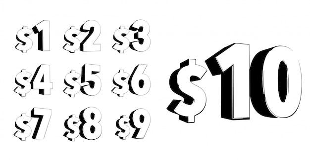 Набор чисел 3d жирный стиль модной типографии