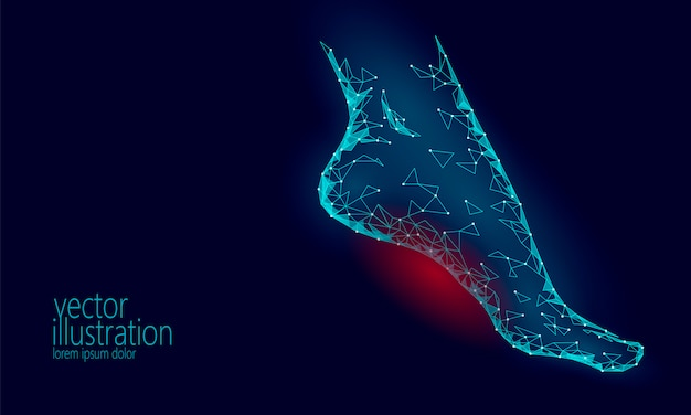 人間の足のつま先の3d低ポリゴンレンダリング。多角形の青い医療医療の痛みを伴う領域。