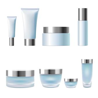 Набор реалистичных 3d косметической упаковки в баночке с кремом в тюбиках синего серебра