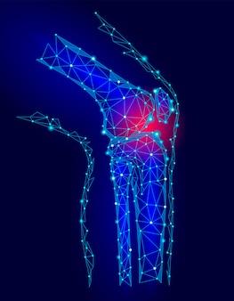 Человеческое колено сустав 3d модель векторные иллюстрации. низкополигональная
