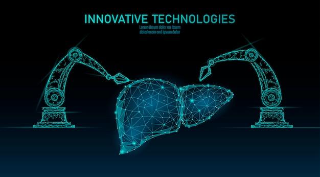 Роботизированная хирургия печени с низким поли. хирургическая операция по полигональному гепатиту. робот-манипулятор. современная инновационная медицина, технология автоматизации науки. треугольник 3d визуализации формы иллюстрации