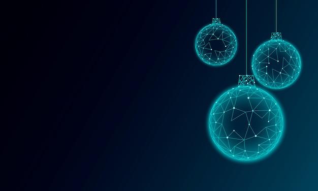 Елочный шар украшение низкополигональное современная футуристическая технология искусства шаблон поздравительной открытки. темно синий фон. светящиеся сверкающие 3d визуализации сферы с новым годом баннер векторная иллюстрация