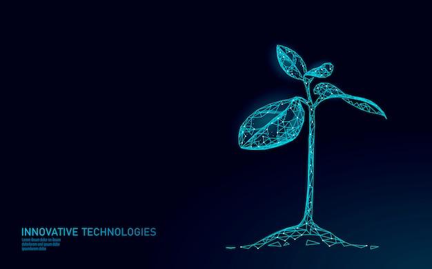 植物の芽の生態学的な抽象的な概念。 3dレンダリングの苗木の葉。惑星の自然環境を保存する生命エコポリゴン三角形低ポリイラストを育てる