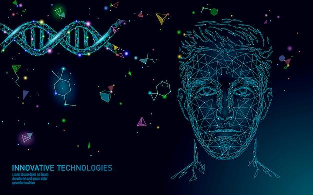 Лечение молекулы днк полигональные научные исследования 3d. низкая поли мужское лицо многоугольной медицинский человек здравоохранения. иллюстрация гена структуры спирали гена медицины