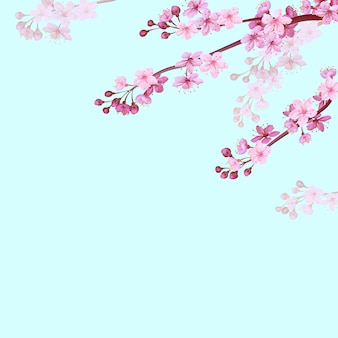 柔らかな青い空を背景に現実的な中国のピンクの桜の背景。オリエンタルパターンの花の花春の背景。 3d自然背景イラスト
