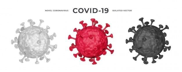 Набор 3d реалистичных клеток коронавируса