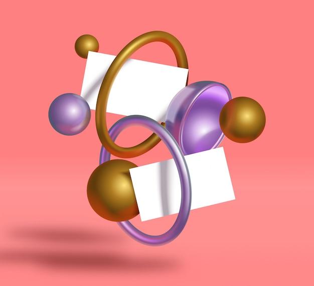3d реалистичные геометрические объекты визитная карточка