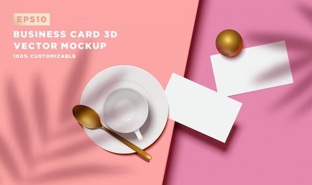 3d реалистичный вид сверху визитная карточка с ложкой и чашкой