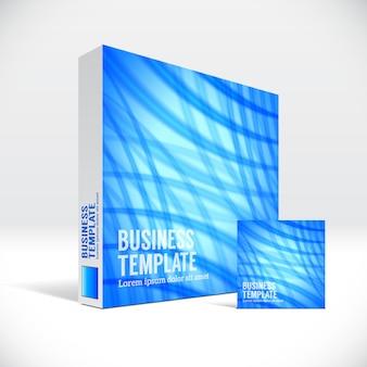抽象的な青い線カバー付きの3d法人ボックスパッケージ