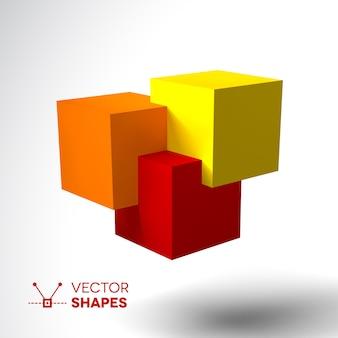 明るい色の立方体の3dロゴ