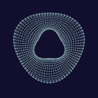 ワイヤフレーム3dオブジェクト。変形したトーラス。