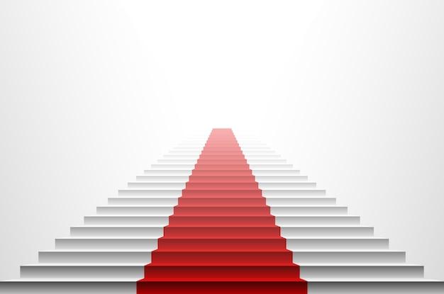 Изображение 3d красного ковра на белой лестнице. красная лестница