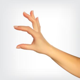 指のサイズ、何かを挿入する能力を示す手のリアルな3dシルエット