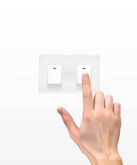 Реалистичный 3d-силуэт руки с выключателем