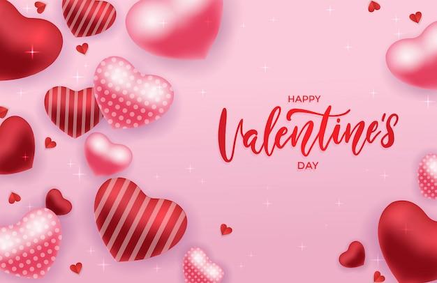 Открытка ко дню святого валентина с красными и розовыми 3d-сердечками на розовом