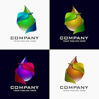 クリエイティブ3d葉と水滴ベクトルロゴデザインテンプレート要素。