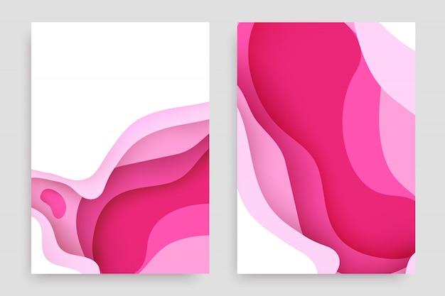 Набор бумаги вырезать с 3d слизи абстрактный фон и розовые волны слоев.