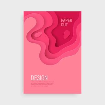 Розовая бумага вырезать крышку с 3d слизи абстрактный фон и розовые волны слоев.