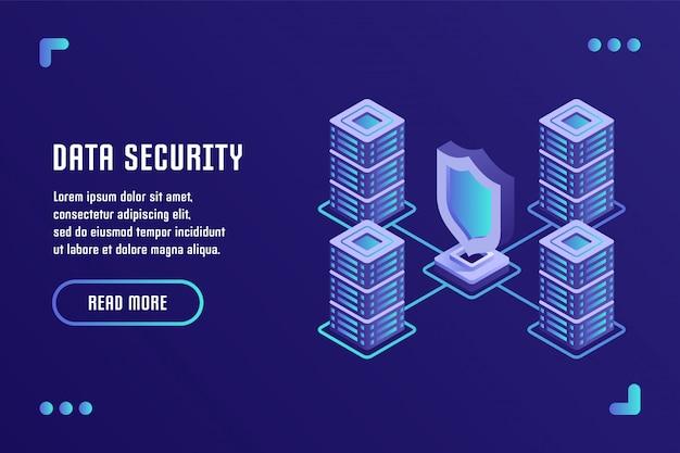データ保護とインターネットセキュリティ、データストレージ、データセキュリティ。平らな等角投影の3dスタイルのベクトル図です。