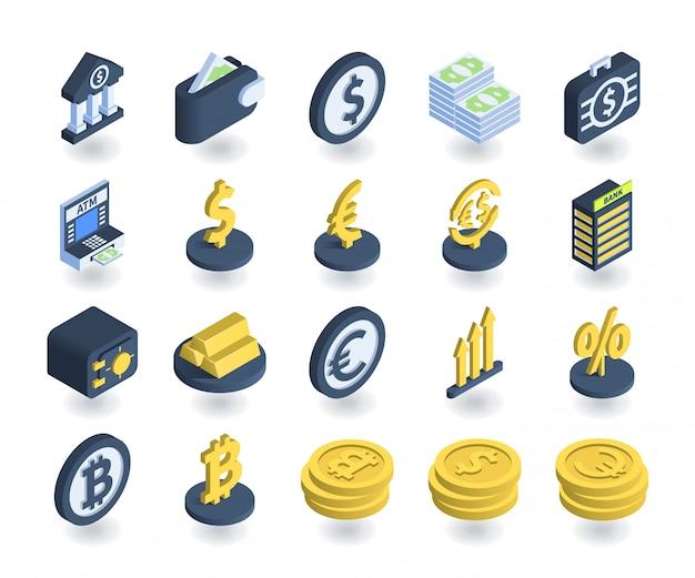 Простой набор банковских иконок в плоской изометрической 3d стиле. содержит такие значки, как кошелек, банкомат, сейф, знаки валют и многое другое.