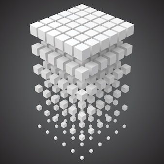 Большие данные, блокчейн и концепция технологии с кубиками в 3d