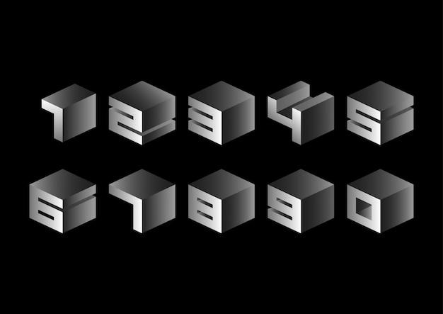 灰色の3d立方幾何学的数字セット