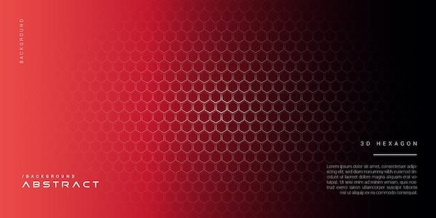 3dダークレッドの抽象的な六角形の背景